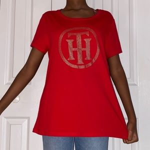 Oversized Bedazzled tommy hilfiger tee